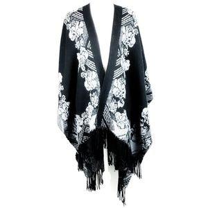 Shaw Wrap Black White Floral One Size
